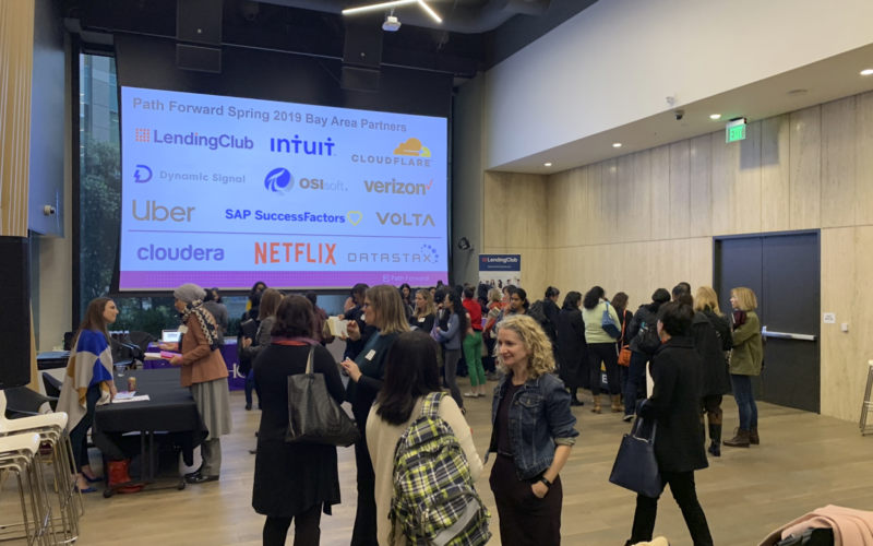 Career restart attendees network with recruiters, each other, and the Path Forward team