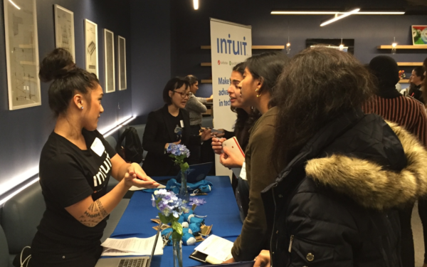 Recruiters from Intuit answer questions from career restart participants